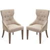 Tufted Linen Shabby Chic Nailhead Trim Dining Chairs - Set of 2