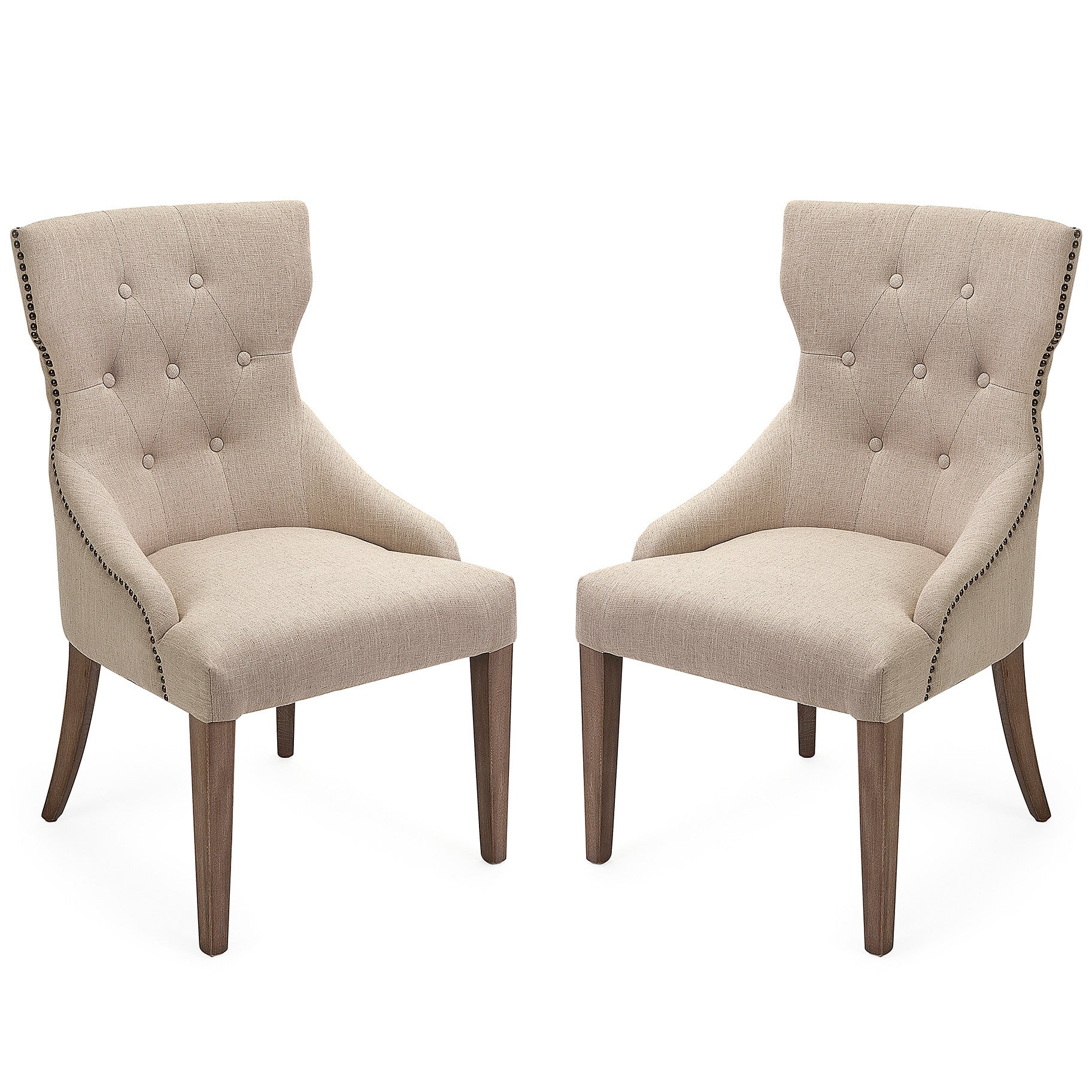 Tufted Linen Shabby Chic Nailhead Trim Dining Chairs Set of 2