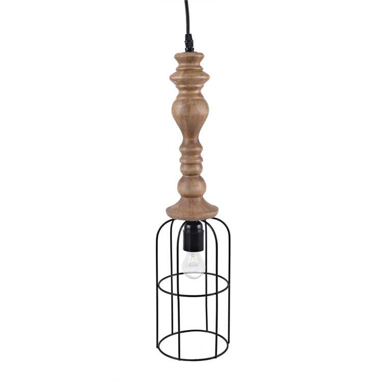 Wood Turned Metal Industrial Modern Cage Pendant