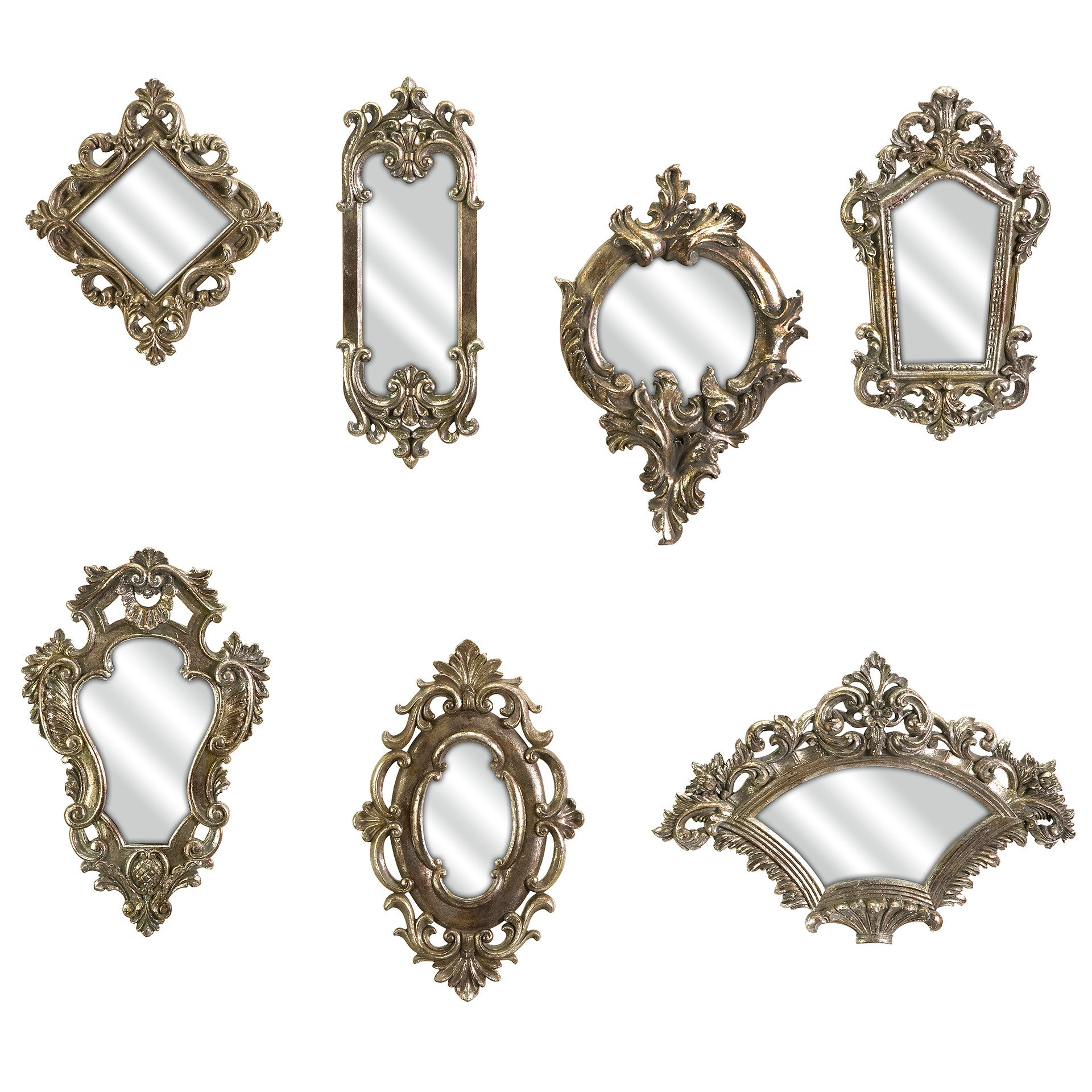 Victorian Style Mirrors - Set of 7