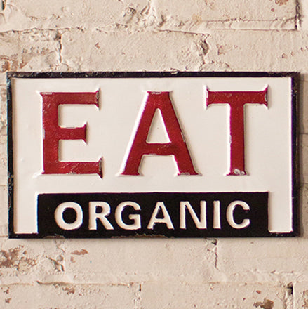 Vintage Style Painted Metal Eat Organic Farm Sign Wall Art