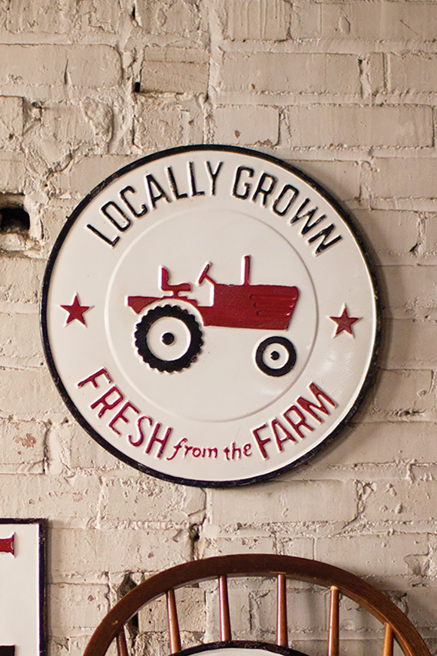 Vintage Style Painted Metal Locally Grown Farm Sign Wall Art Woodwaves