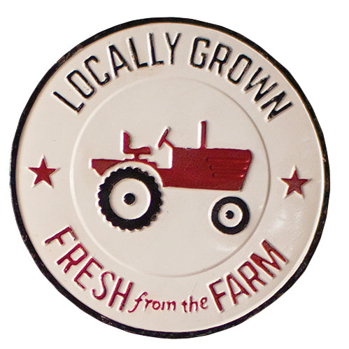 Vintage Style Painted Metal Locally Grown Farm Sign Wall Art