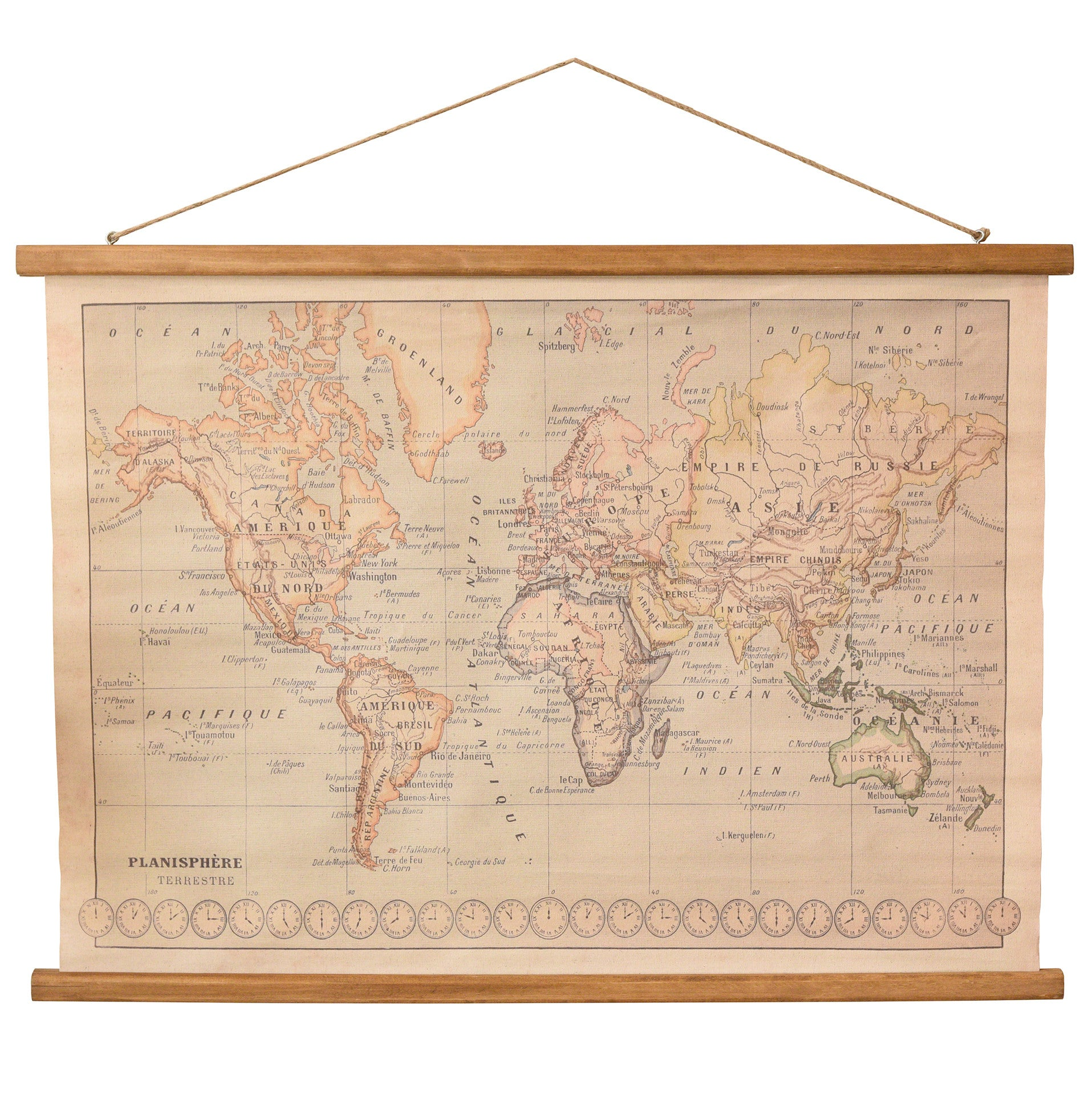 Rustic World Map Banner Wall Art