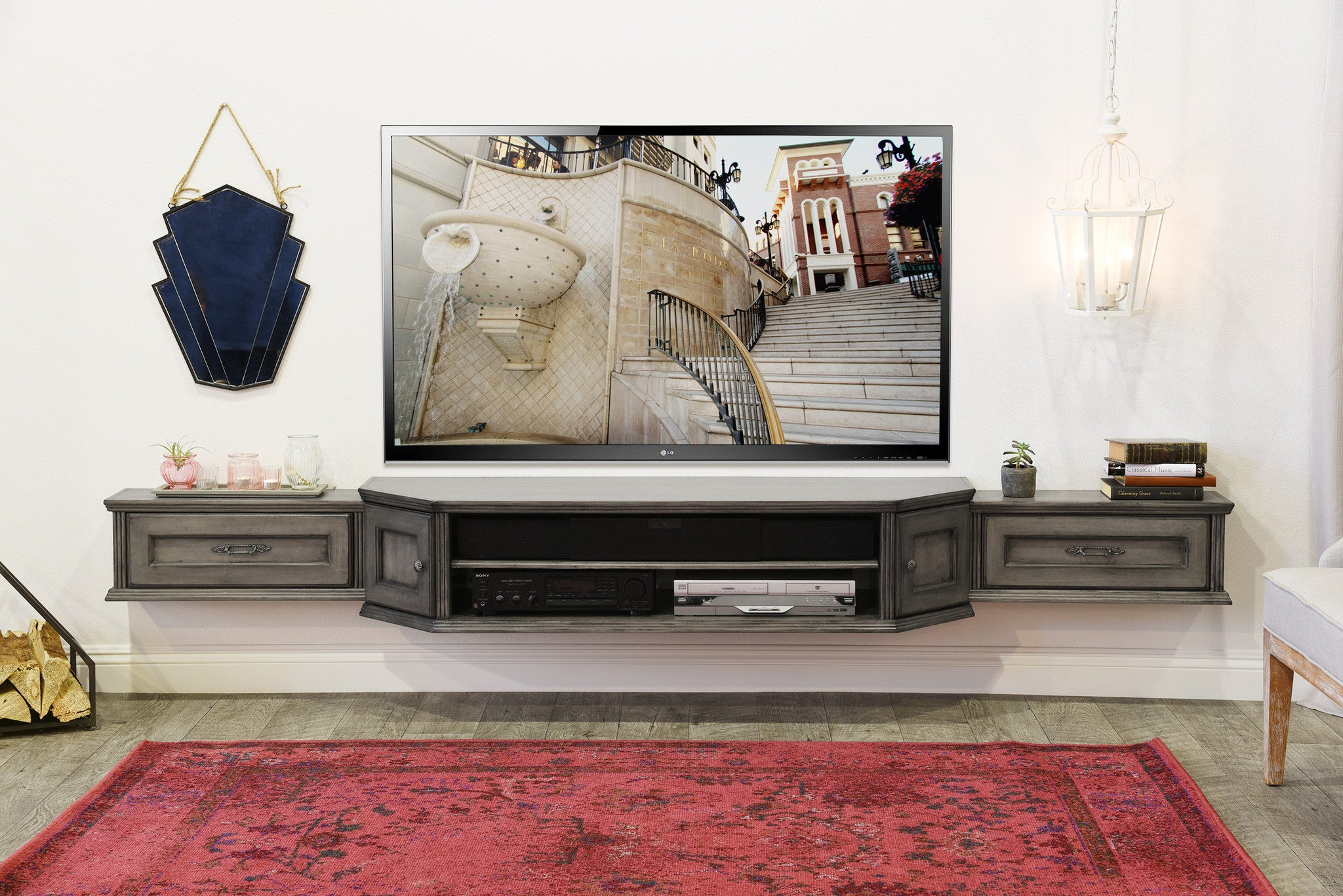 distressed antiqued floating tv stand vintage 3 piece driftwood gray
