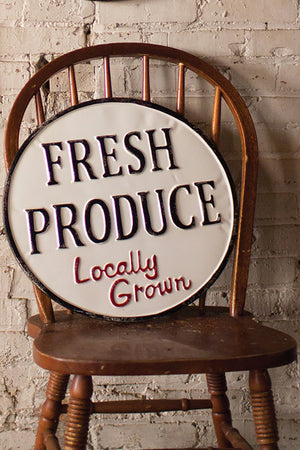 Vintage Style Painted Metal Fresh Produce Farm Sign Wall Art