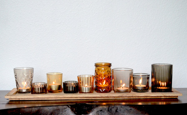 Glass Tealight Holders With Wood Base Woodwaves