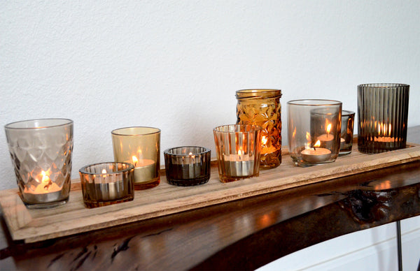 Glass Tealight Candle Holders With Wood Tray Woodwaves