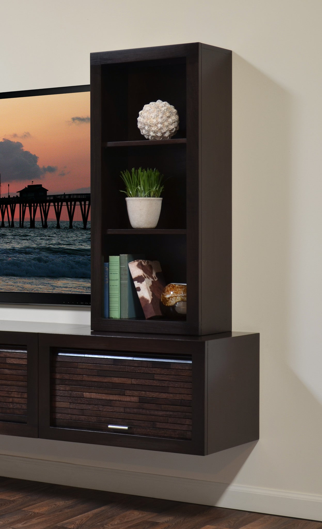 Floating End Table & Bookcase - ECO GEO Espresso