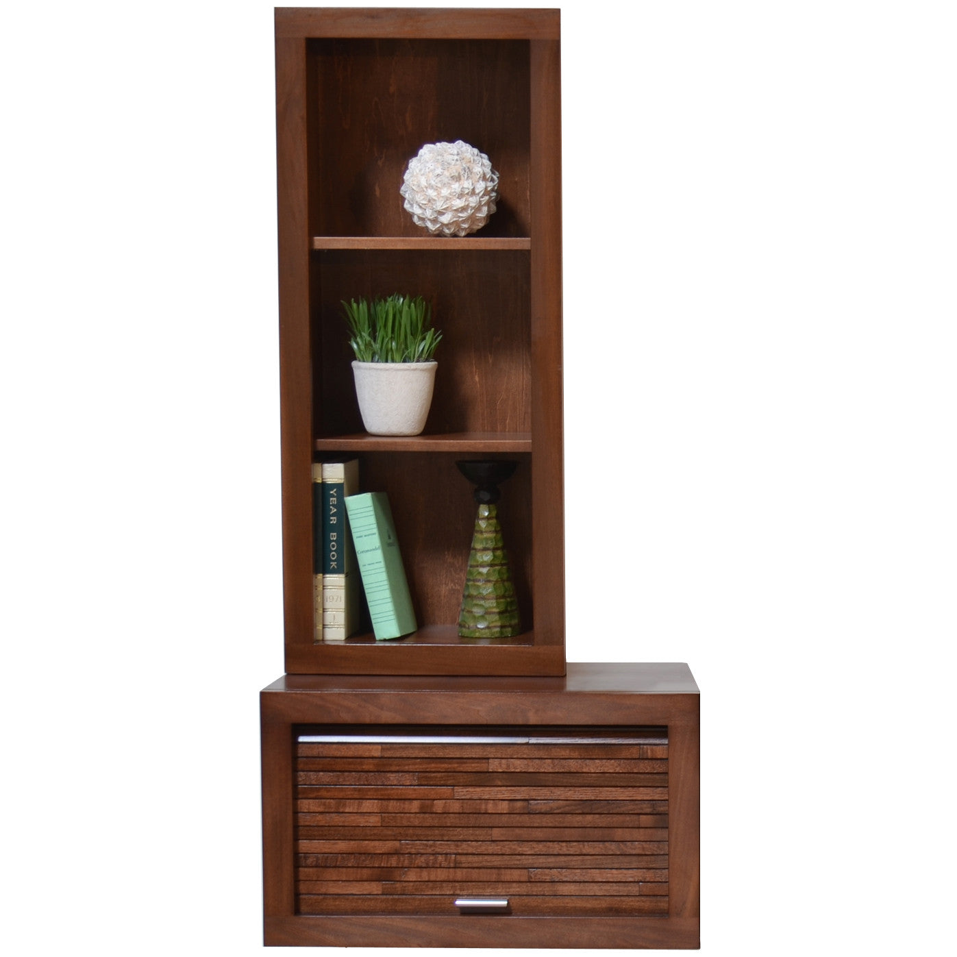 Wall mount audio media cabinet bookcase eco geo mocha for Wall hung media cabinet
