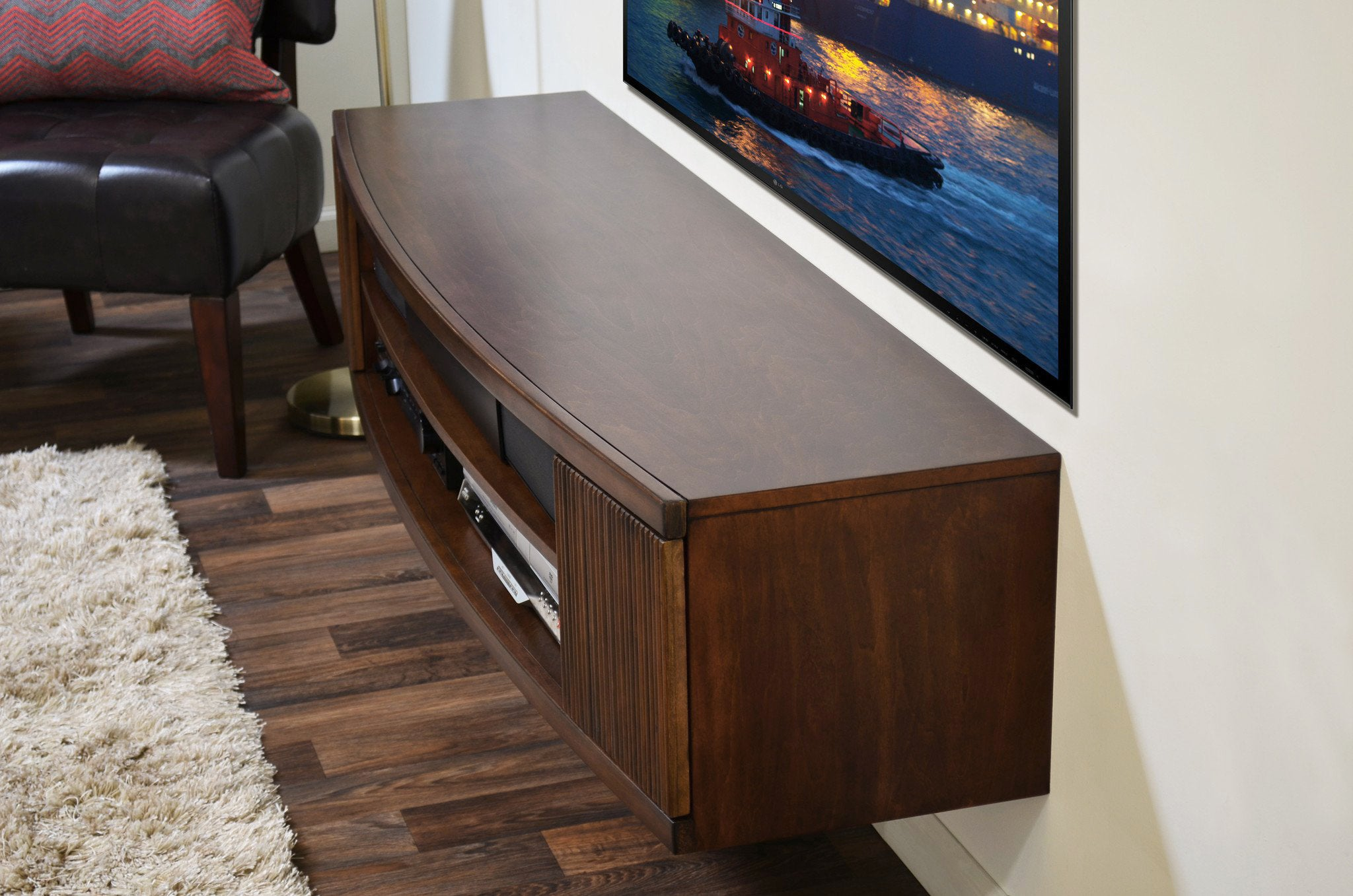 Curved Round Floating TV Console - The Curve - Mocha