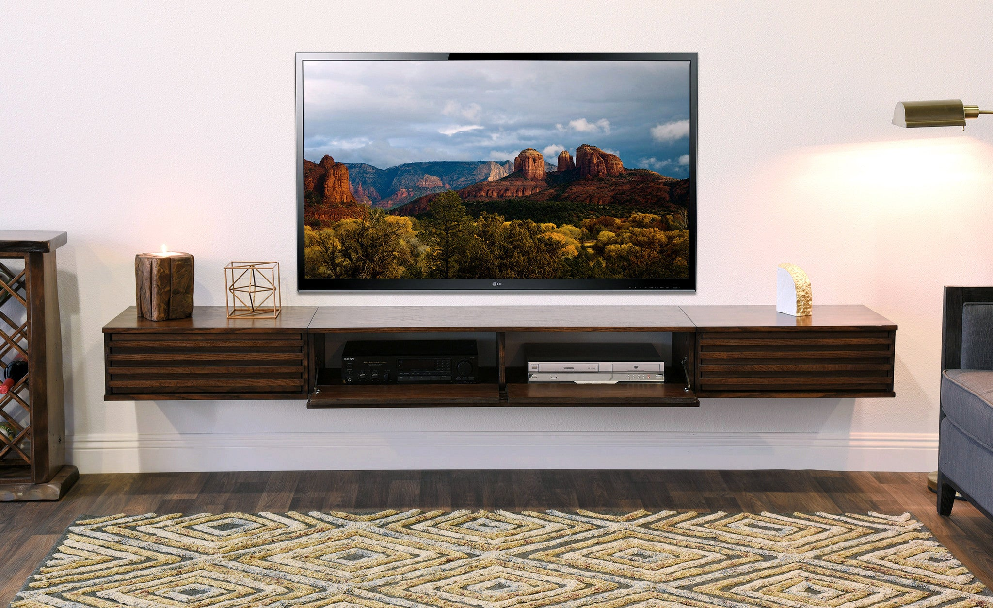 floating tv stand wall mount entertainment center  lotus  piece  russetbrown. floating tv stand wall mount entertainment center  lotus  piece