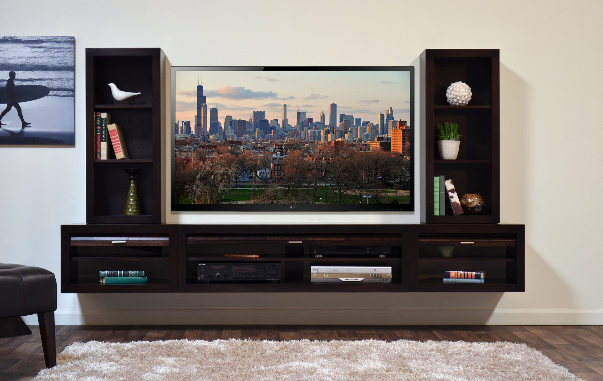 Floating Entertainment Center Tv Stand Eco Geo Espresso