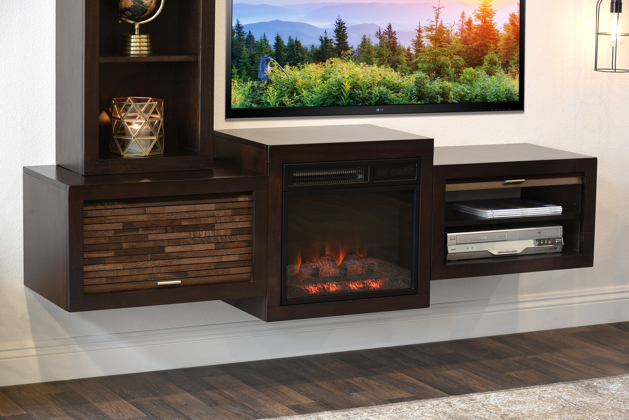 Floating Wall Mount Tv Stand With Fireplace And Bookcase