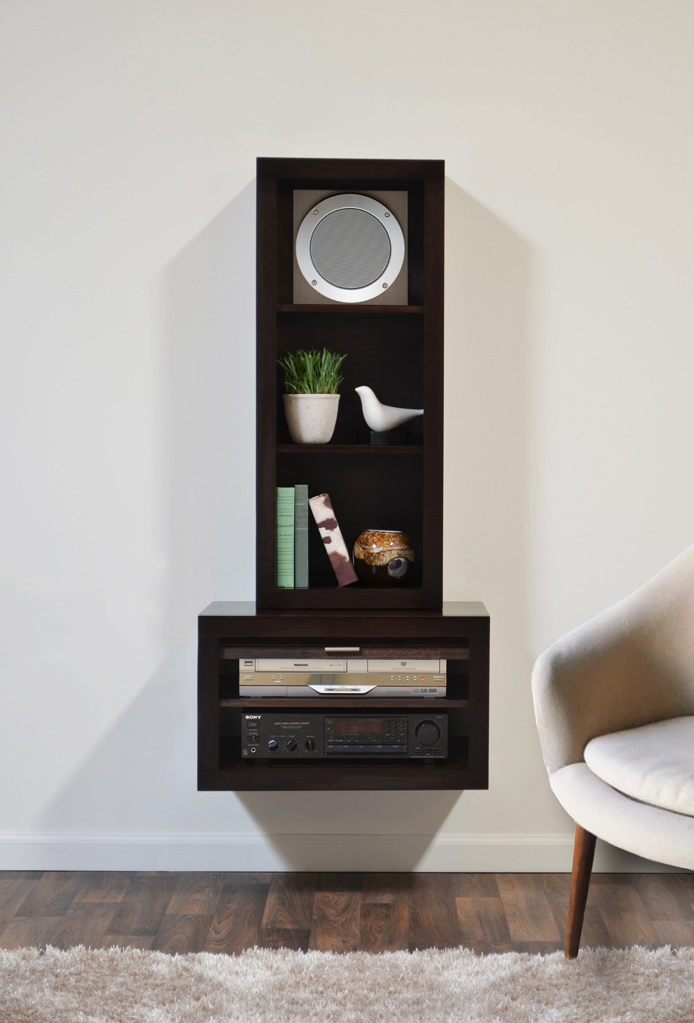 Floating End Table & Bookcase  Eco Geo Espresso