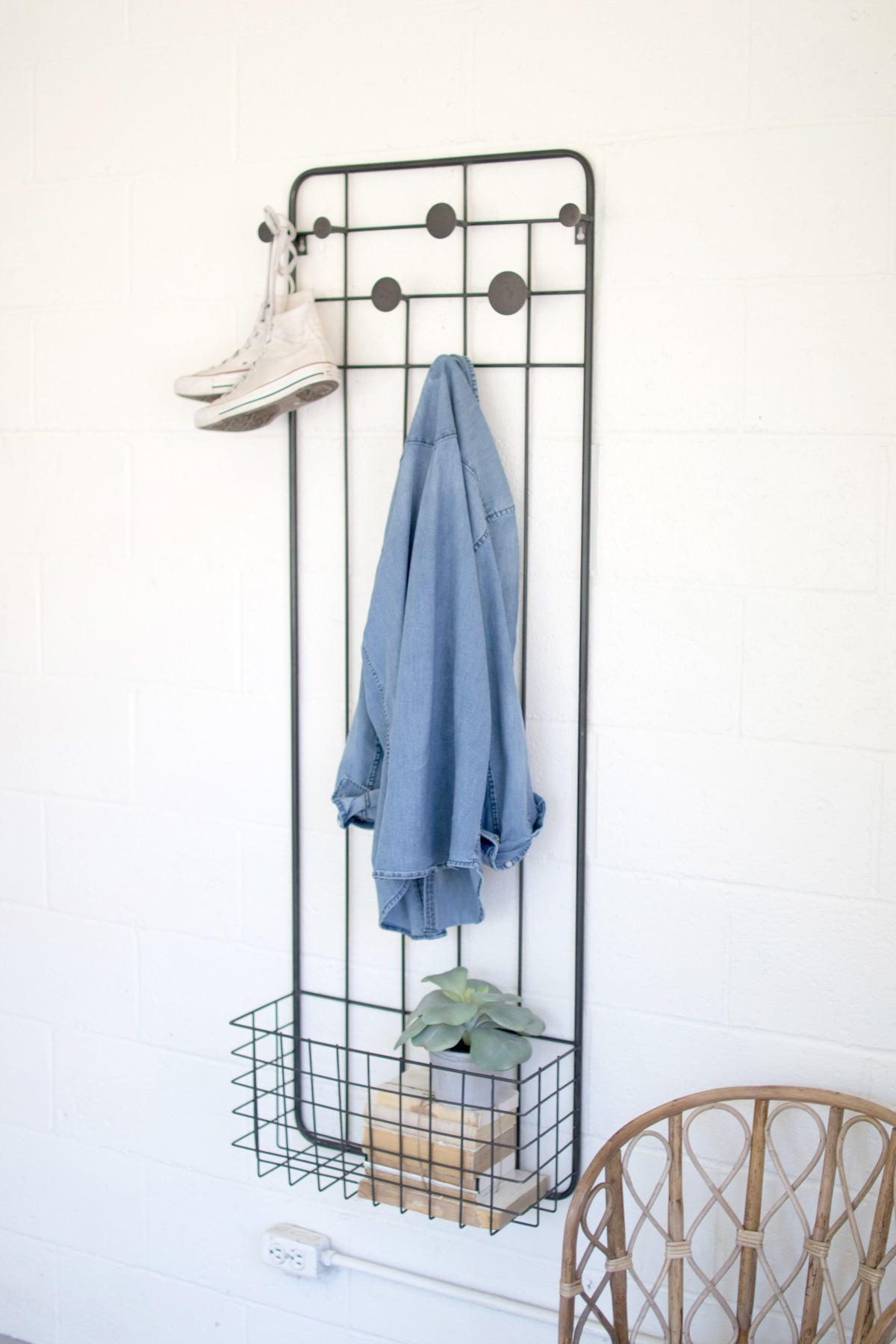 Wall Mount Floating Metal Basket With Coat Hooks Clothing Organizer