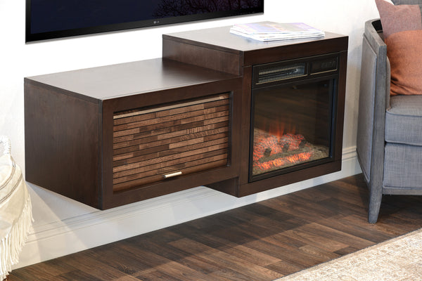 Wall Mount Floating Tv Media Stand With Fireplace Small