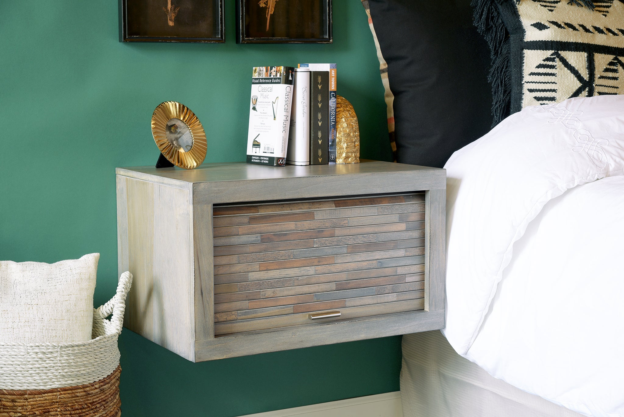 Modern Gray Floating Nightstand Wall Mount Night Stand - ECO GEO Lakewood - OB 30% OFF!