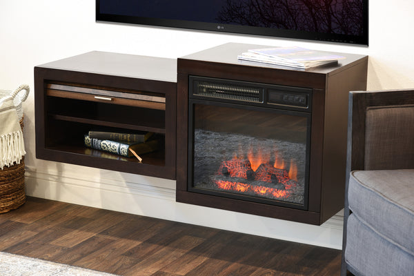 Wall Mount Floating TV Media Stand With Fireplace