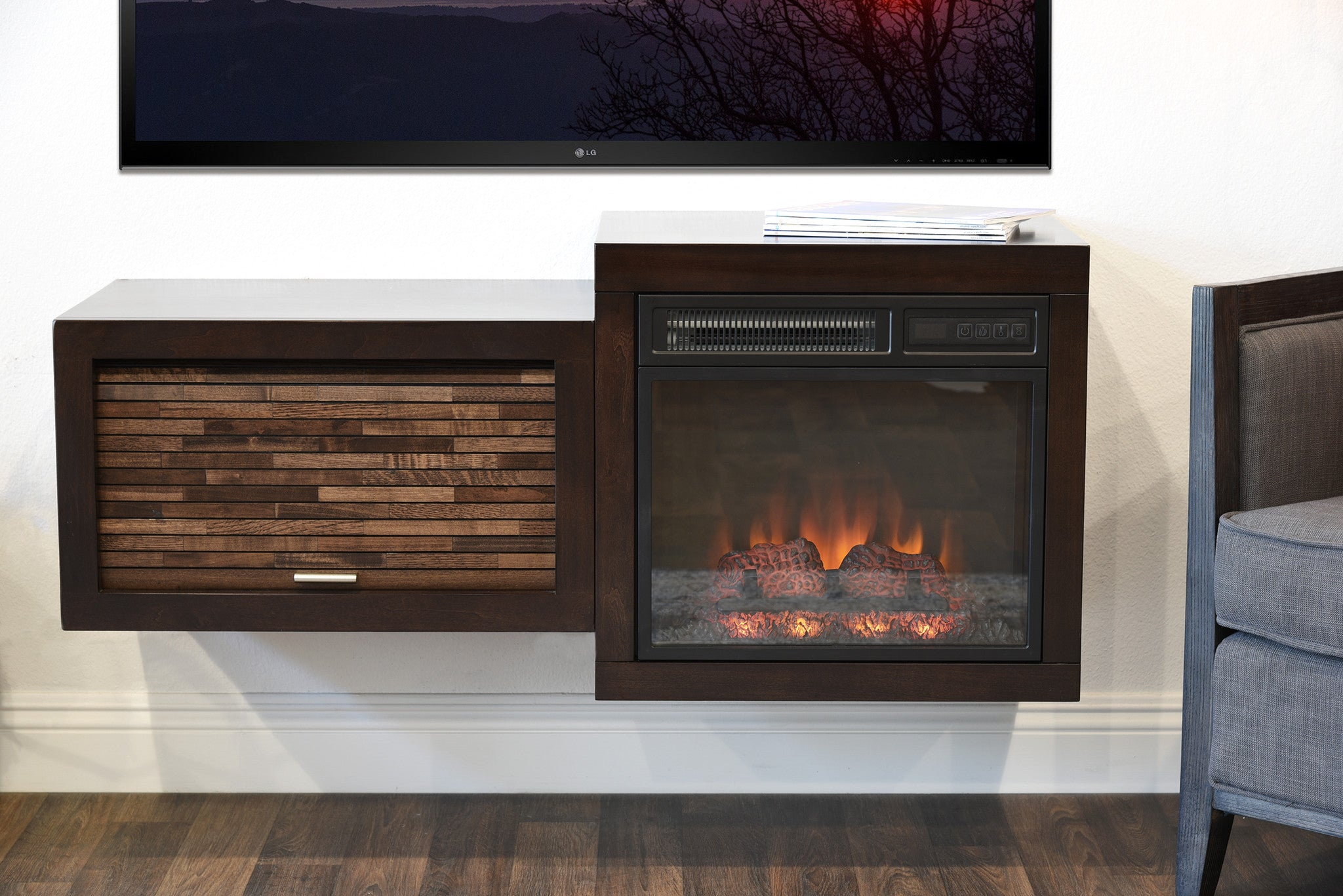 Save $$ With This Bundle! Mid Century Modern Retro Floating Media Console With Fireplace  The Eco Geo is a unique eco-friendly modular entertainment console which is handcrafted of solid Poplar and genuine Maple veneers.   This bundle includes our ele