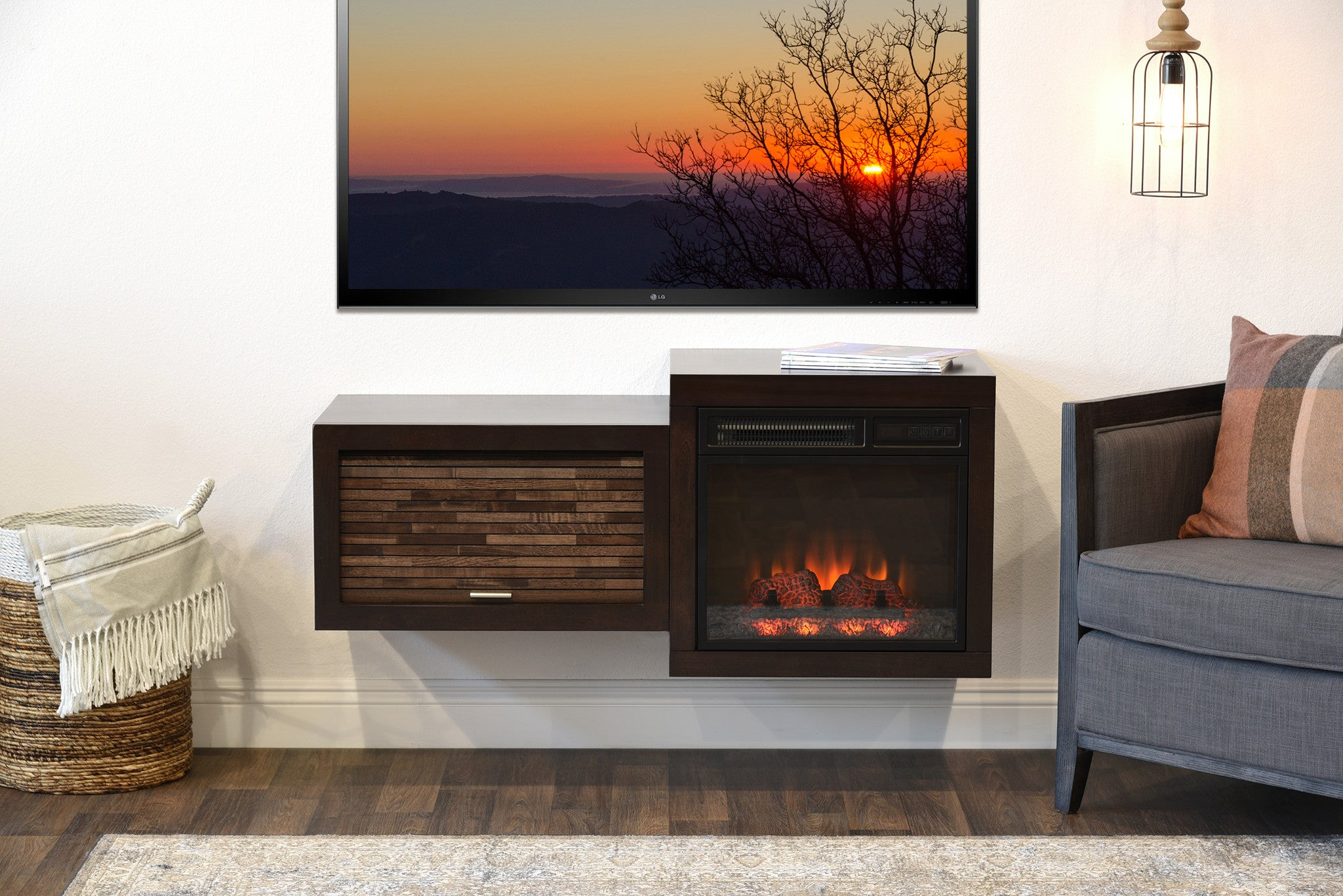 Wall Mount Floating TV Media Stand With Fireplace - Small ...