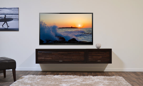 Floating entertainment stand eco geo espresso 2pc woodwaves - Inspiration wall mounted tv cabinet ...