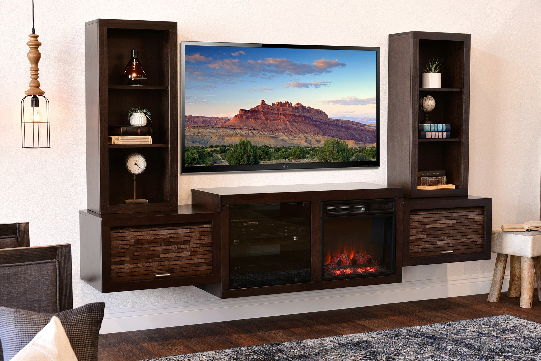Entertainment Center With Fireplace Heater Part - 16: Wall Mount Fireplace TV Stand Entertainment Center - ECO GEO Espresso