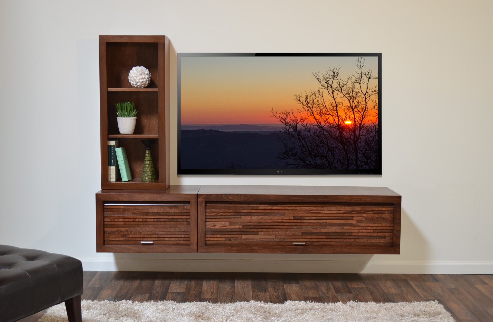 Floating Tv Stand With Bookcase Eco Geo Mocha Woodwaves