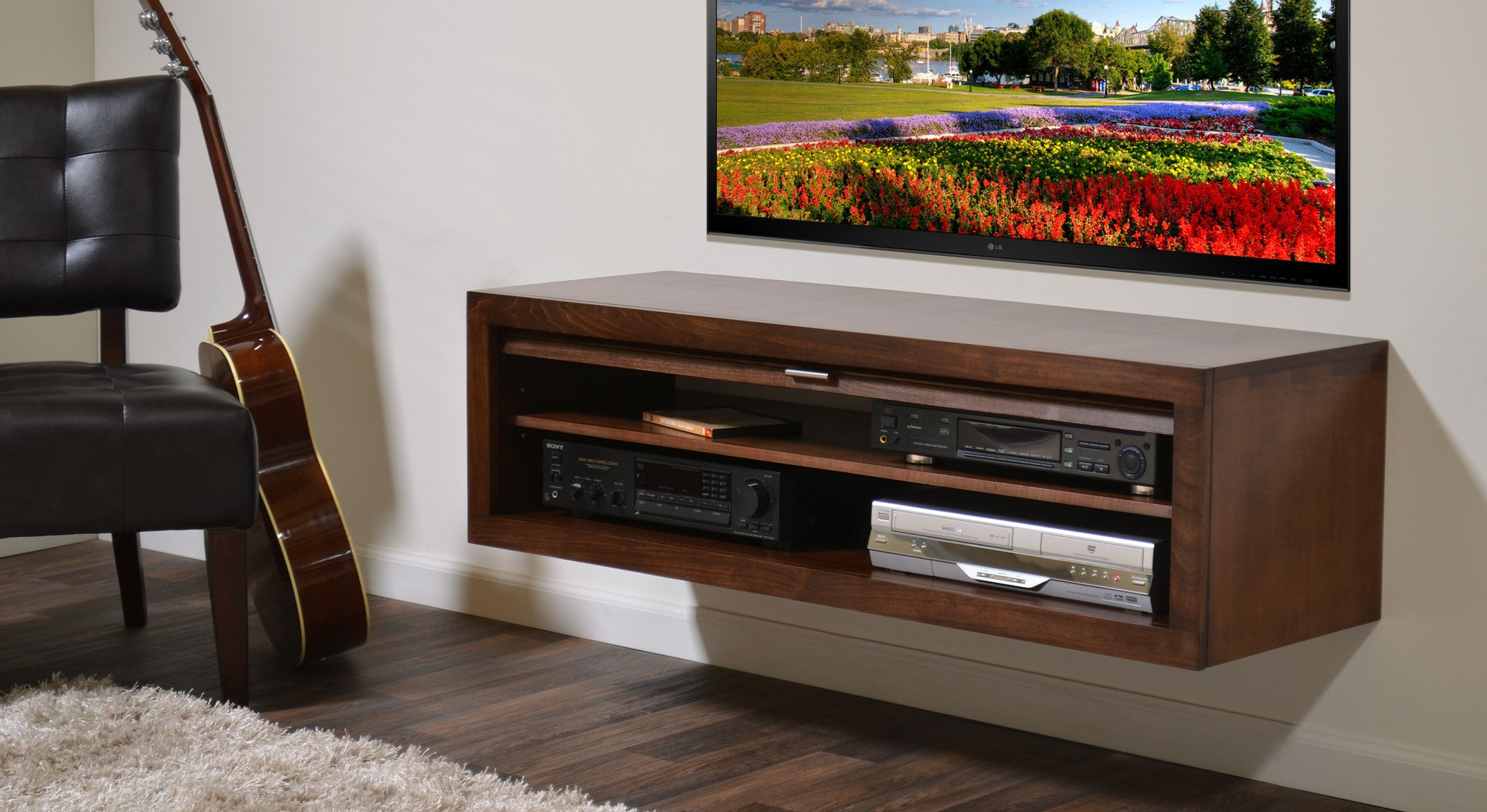 Wood Floating TV Stand - ECO GEO Mocha