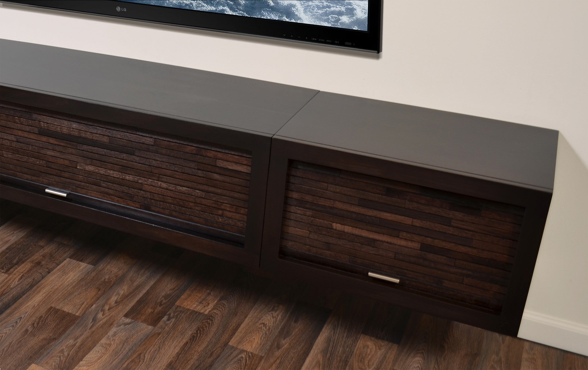 Floating Entertainment Tv Stand Eco Geo Espresso 2pc
