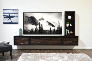 Floating TV Stand Entertainment Console - ECO GEO Espresso 3 Piece & Bookcase