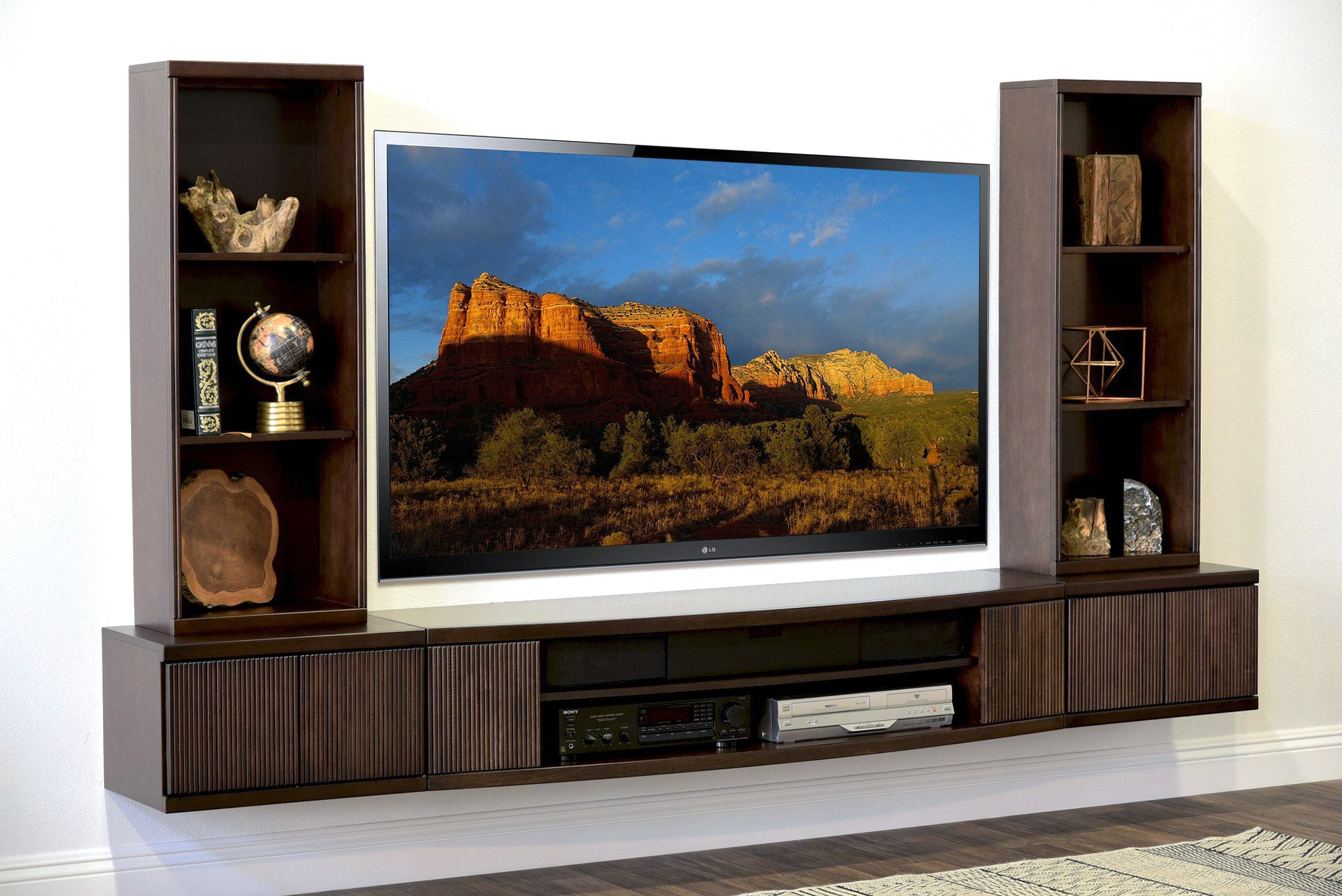 floating tv stand wall mount entertainment center the. Black Bedroom Furniture Sets. Home Design Ideas