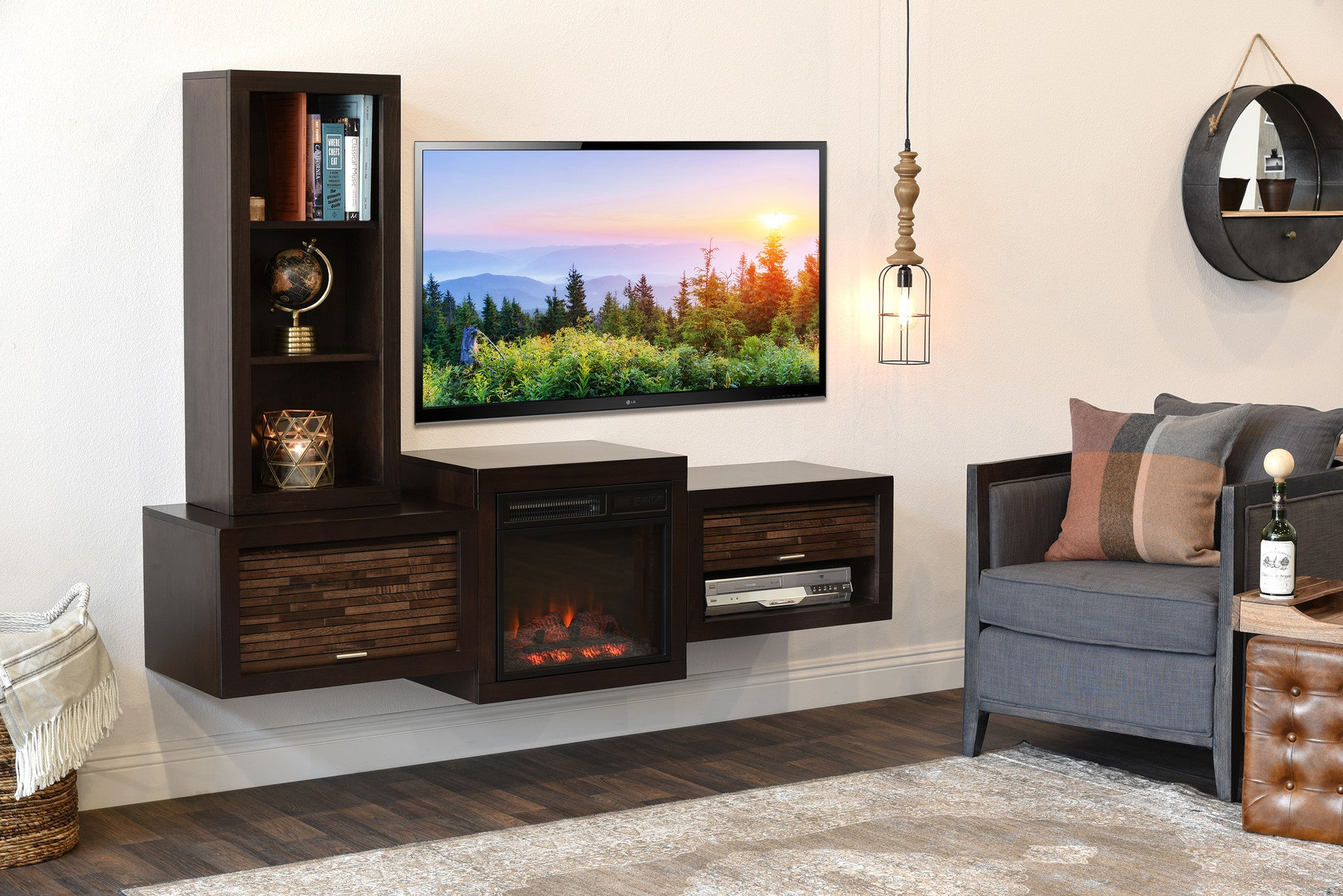 wall mount tv stand Floating Wall Mount TV Stand With Fireplace and Bookcase   ECO GEO  wall mount tv stand