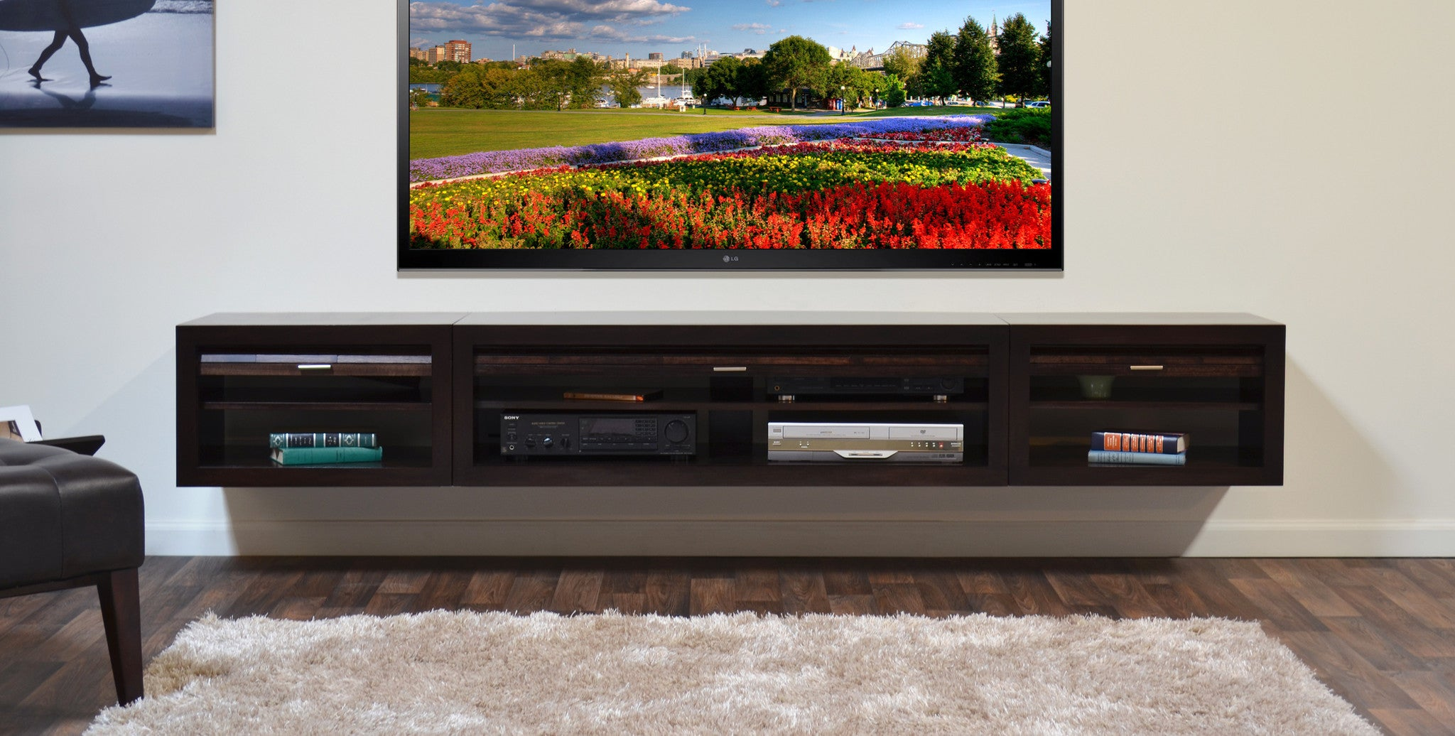 floating wall mount entertainment center tv stand  curve    - floating tv stand entertainment center  eco geo espresso
