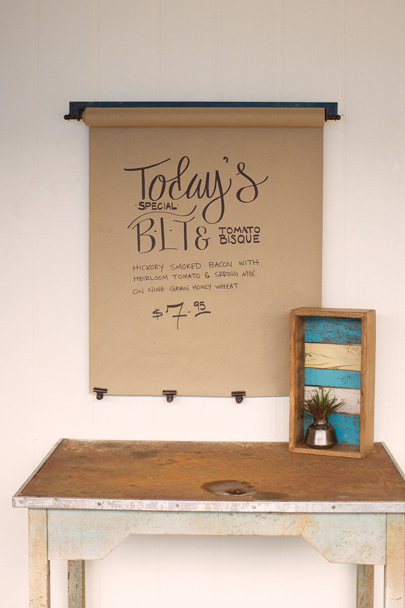 Wall Mounted Rustic Paper Note Roll With Clips - Large