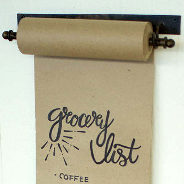 Wall Mounted Rustic Paper Note Roll With Clips Small