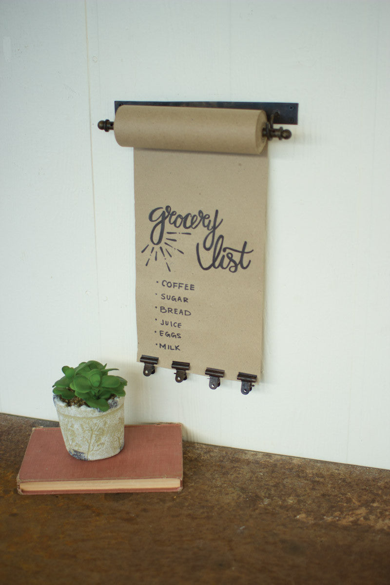 Wall Mounted Rustic Paper Note Roll With Clips - Small