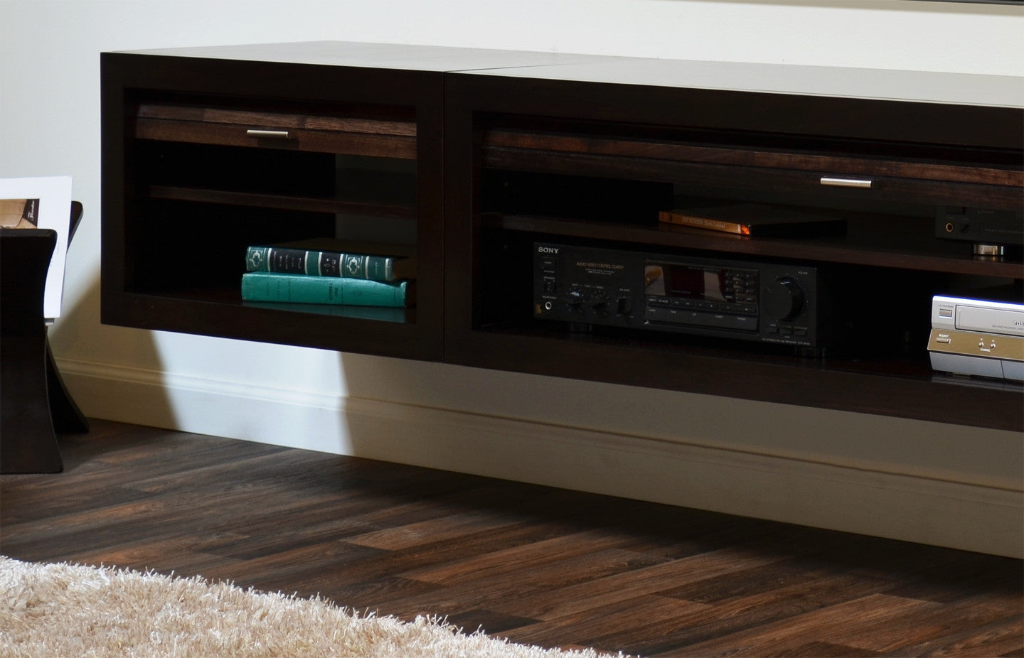 hanging wall mount entertainment center floating tv stand. Black Bedroom Furniture Sets. Home Design Ideas