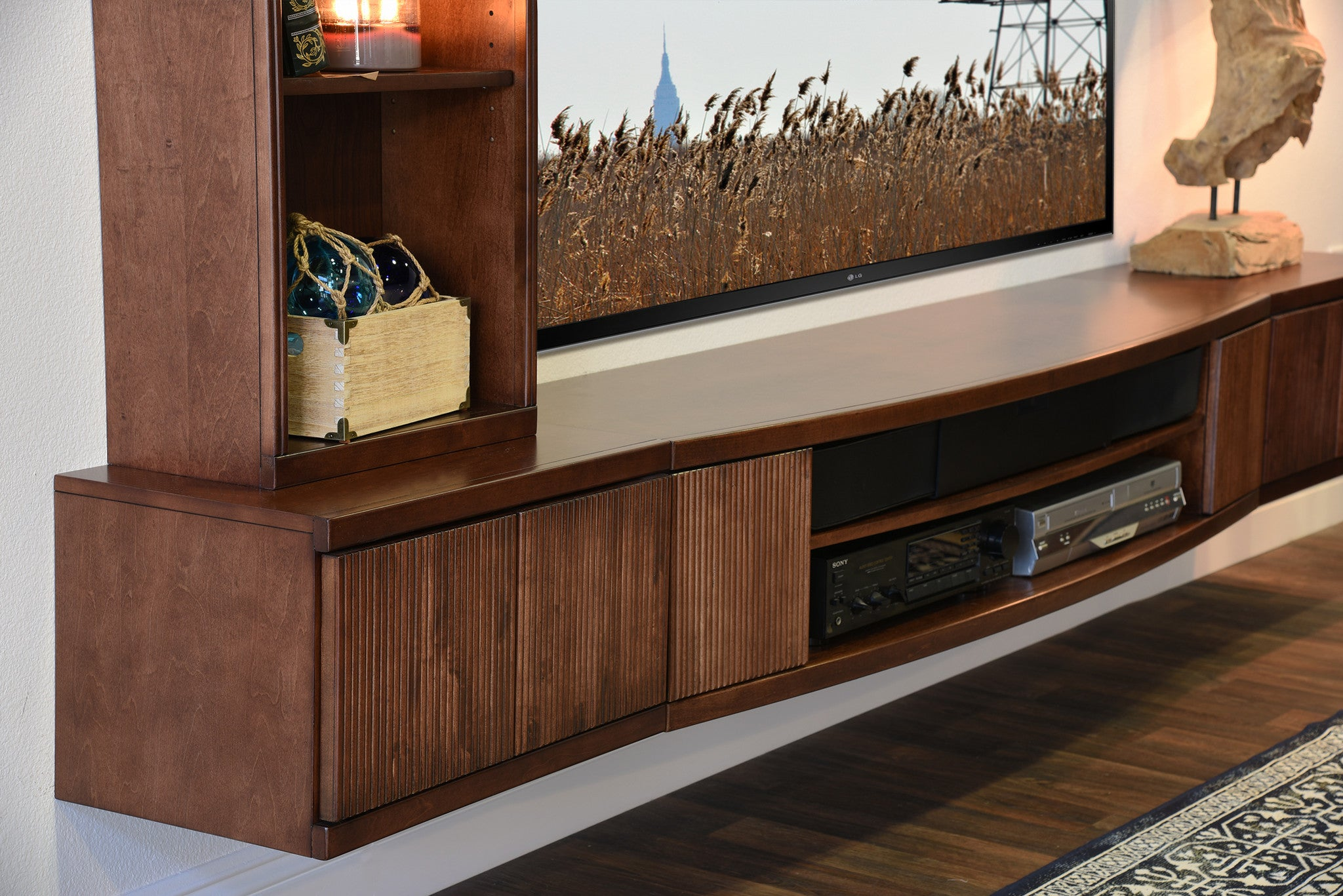 Floating media wall shelf cabinet curve mocha 3 piece for Wall hung media cabinet