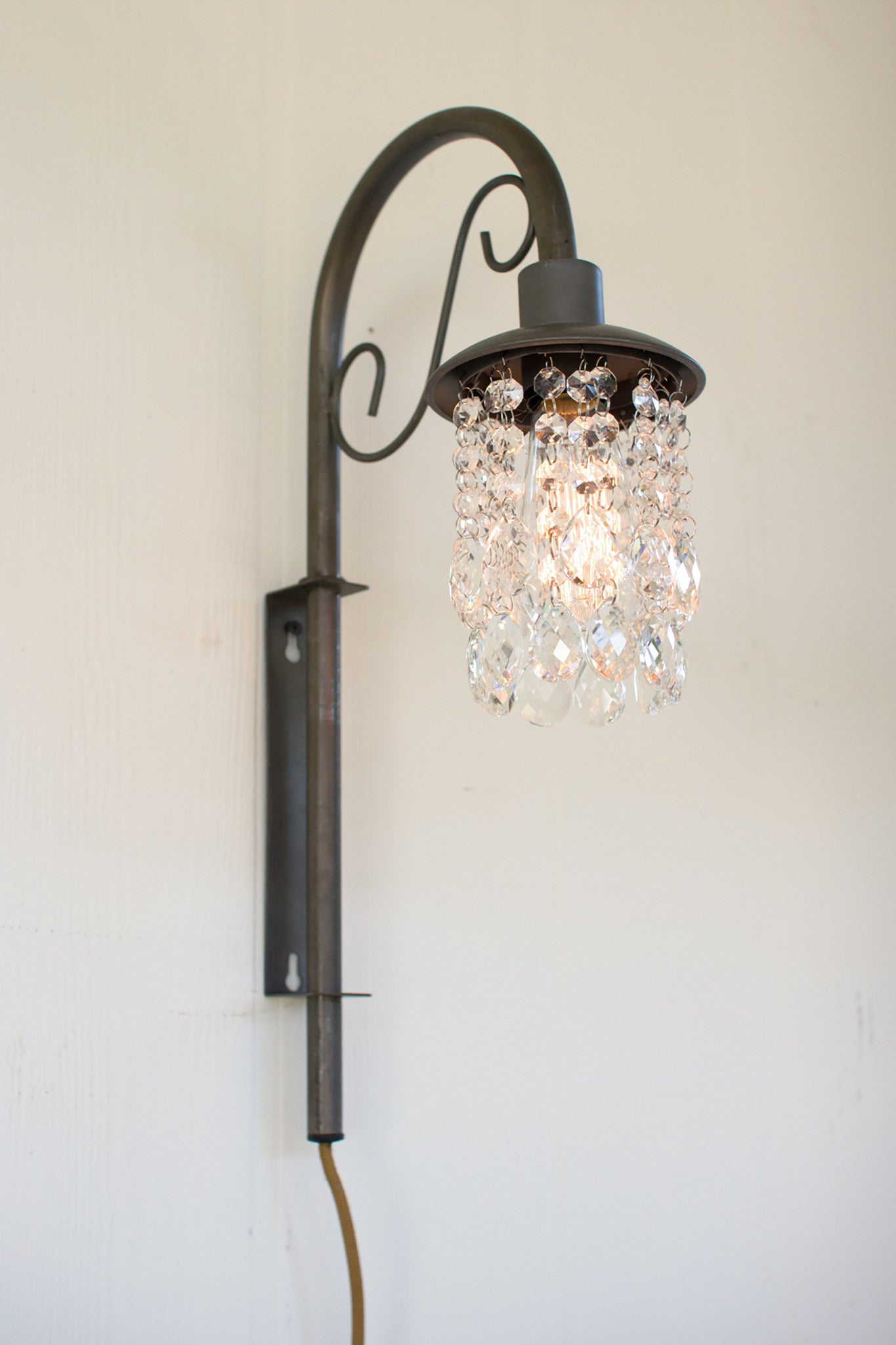 Wall sconces woodwaves raw metal edison plug in wall sconce with gems amipublicfo Gallery