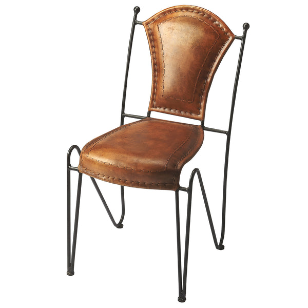 Western Southwest Leather And Iron Accent Chair Woodwaves