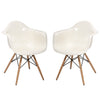 White Acrylic Mid Century Modern Retro Wood Leg Chairs - Set of 2