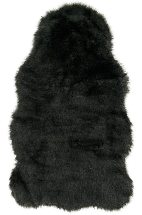 Black Faux Sheepskin Fur Rug Woodwaves