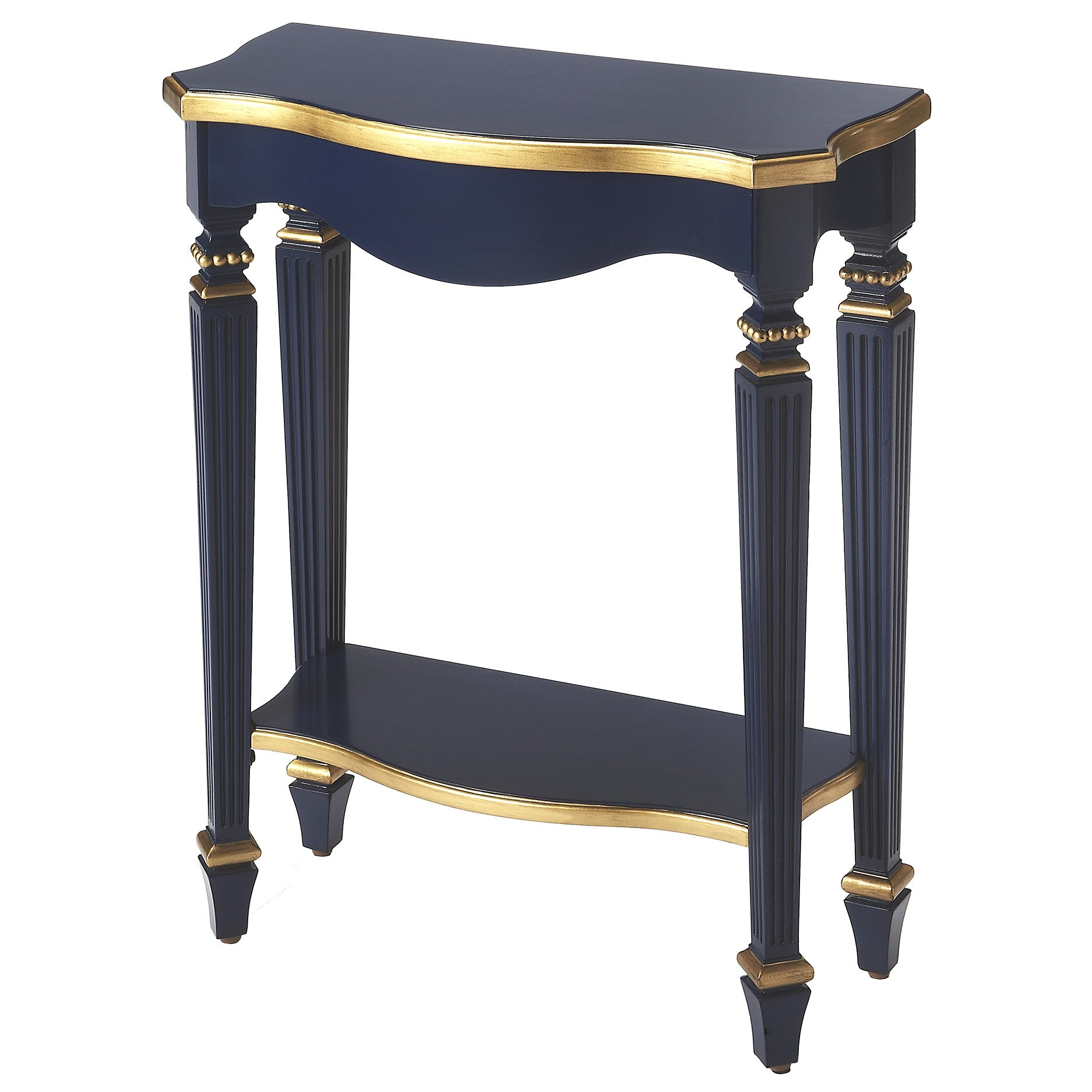Dark Navy Blue Slim Narrow Entry Table With Gold Finish Accents