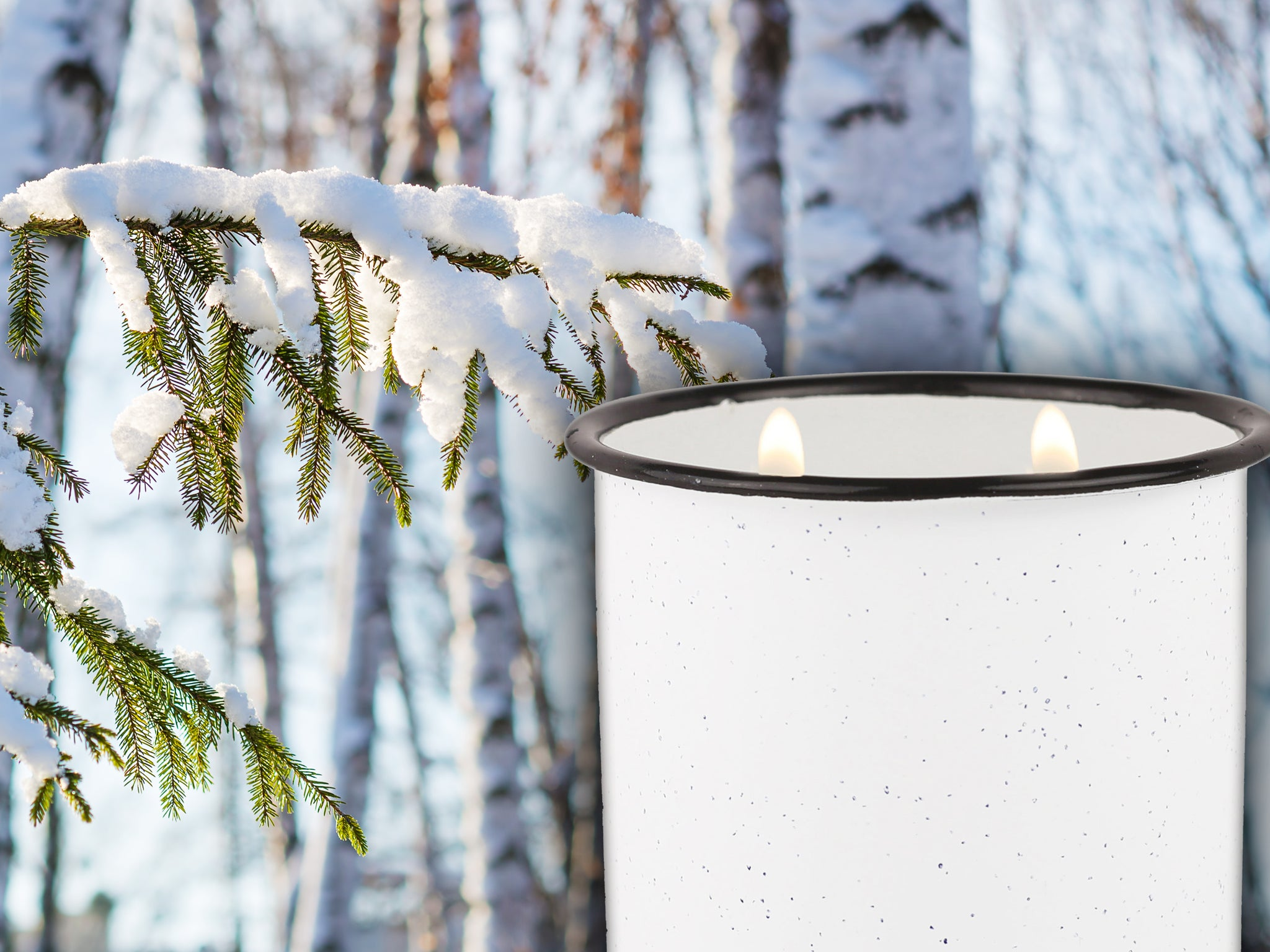 White Enamel Camping Mug Candle - White Woods & Mint - Woods Scented
