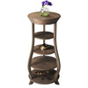 French Tiered Round Solid Wood Corner Shelf