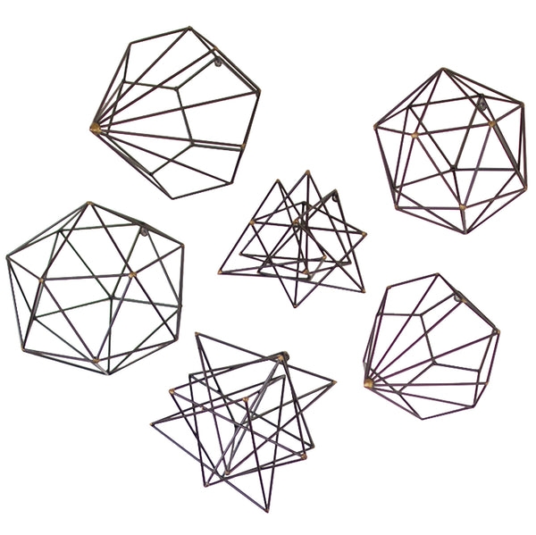 Geometric Metal Wall Decor : Geometric metal wire wall art set of woodwaves