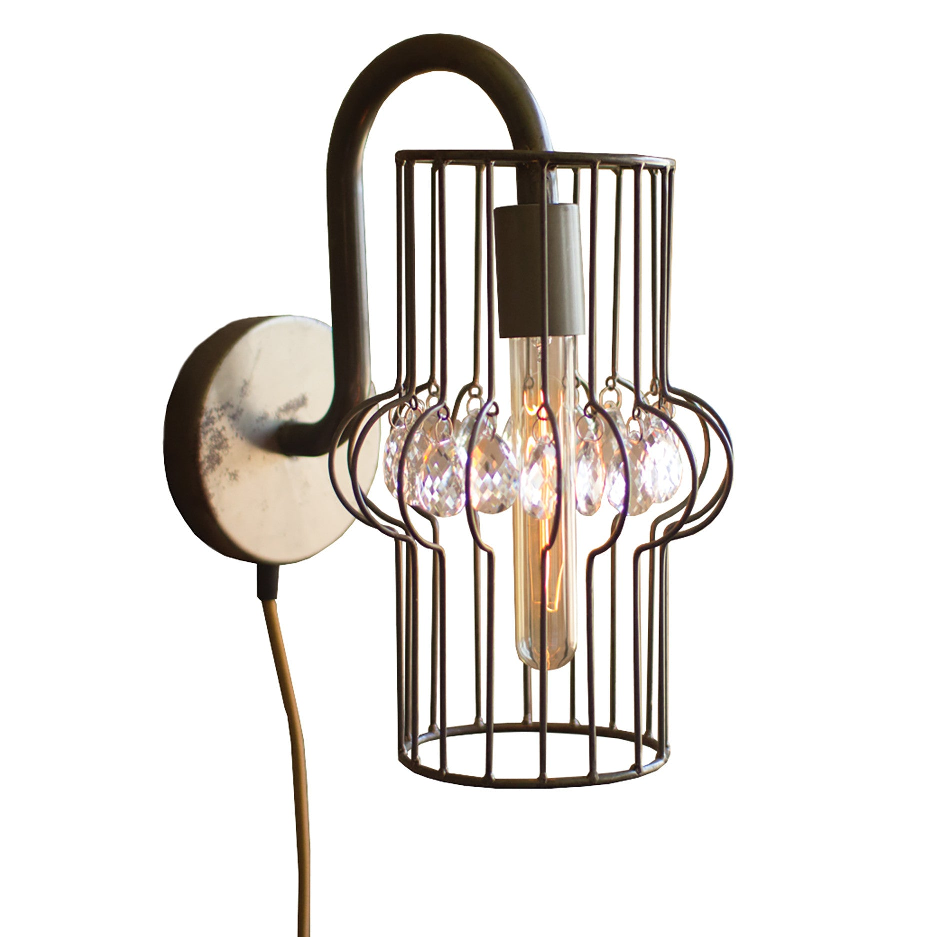 Industrial Modern Plug In Wall Sconce With Gems - Woodwaves