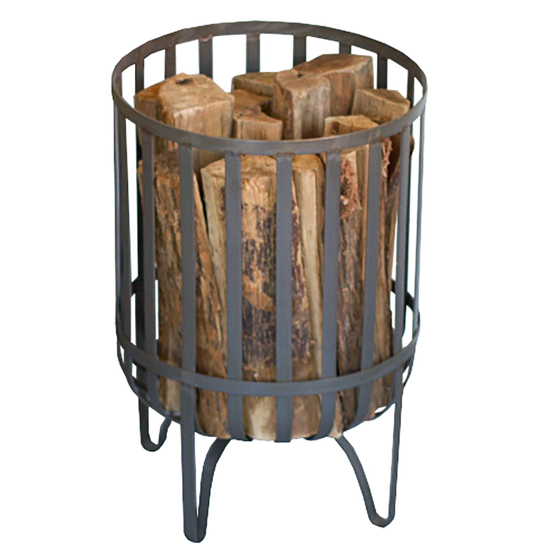 Industrial Modern Raw Metal Log Basket