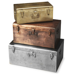Industrial Modern Storage Trunk Set of 3